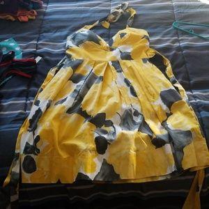 Ruby Rox Yellow & Black Halter Dress
